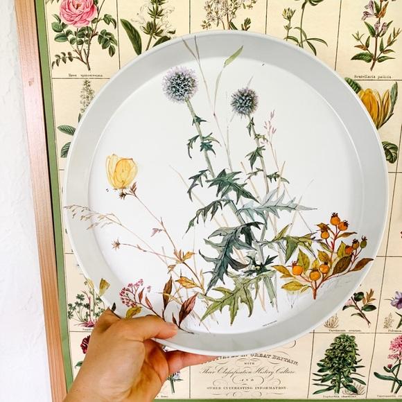 Vintage Metal Floral Tray/Plate